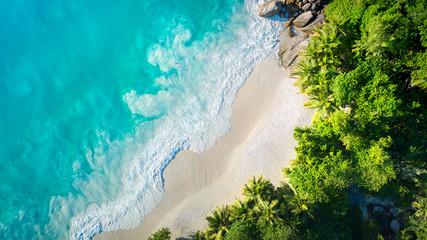 Tropical beach with sea and palm taken from drone. Anse Lazio beach at Praslin island, Seychelles....