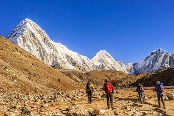 Pumori, Lingtren and Khumbutse peaks in Nepal