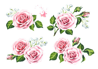 Pink rose flowers and gypsophila set. Design elements for cards, invitations and textile. Watercolor hand drawn illustration,  isolated on white background