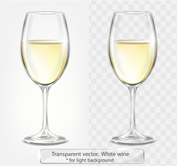 Transparent vector wineglass with white wine. For light background