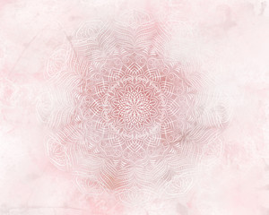 Pink abstract mandala light background.