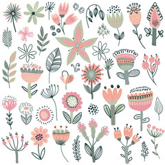 Vector collection of fancy flowers