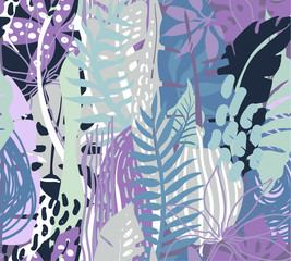 Vector seamless pattern with tropical plants