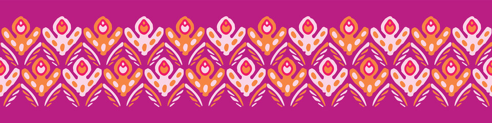 Foto op Plexiglas Boho Stijl Stylized Retro Floral Seamless Vector Border. Colorful Boho Folk Flowers Banner. Vintage 1970's Style on Purple Background. Trendy for Girl Stationery, Floral Packaging, Kitchen Ware, Isolated Edging
