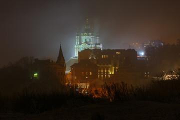 A frosty winter night in Kyiv, Ukraine.
