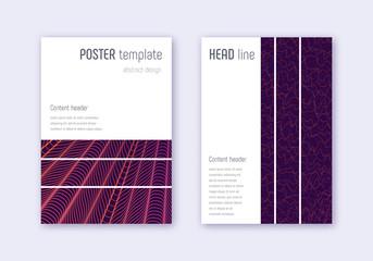 Geometric cover design template set. Violet abstra