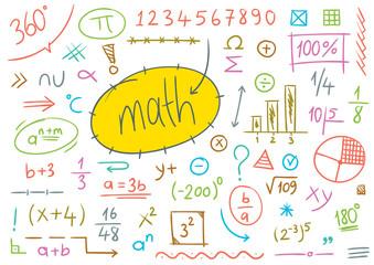 math symbols hand drawn, mathematics mark colored vector