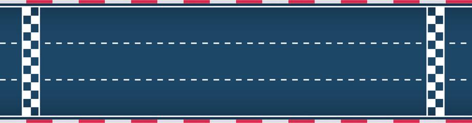 Three-lane autosport race track. Motorsport background. Vector flat illustration