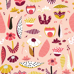 Abstract flower collage style seamless vector pattern. Scandinavian flat floral background coral pink white black gold. For summer, spring, girls, women, banner, fabric, wallpaper, gift wrap, decor