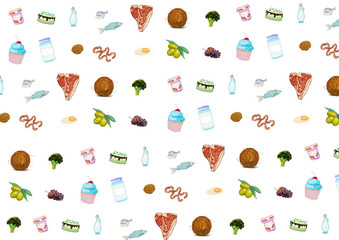 illustration of colorful foods on white background