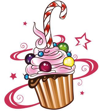 Bunter Muffin mit Sternen, Süßigkeiten und Zuckerstange.