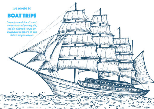 Sail ship hand drawn sketch. Nautical vector illustration. Sea design template.