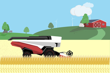 Autonomous harvester on a wheat field. Vector illustration
