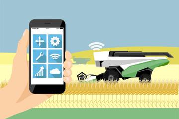 Control of autonomous harvester by mobile app. Smart farming concept