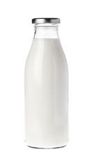 Filled unopened milk bottle isolated on white background