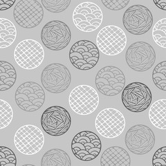 Abstract geometric pattern the points, circles. Gray seamless vector background