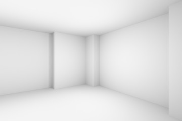 Empty abstract white room simple illustration.