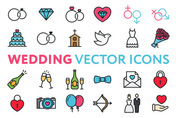 Wedding, Marriage, Engagement, Bridal Color Flat Line Vector Icon Set. Valentine Day. Love, Heart, Bride, Groom, Wife, Husband. Rings, Cake, Chapel, Dove, Dress, Bouquet, Champagne, Invitation.