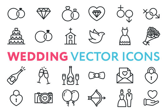 Wedding, Marriage, Engagement, Bridal Flat Line Vector Icon Set. Valentine Day. Love, Heart, Bride, Groom, Wife, Husband. Rings, Cake, Chapel, Dove, Dress, Bouquet, Champagne, Invitation.