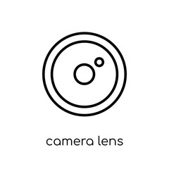 camera lens icon. Trendy modern flat linear vector camera lens icon on white background from thin line Cinema collection