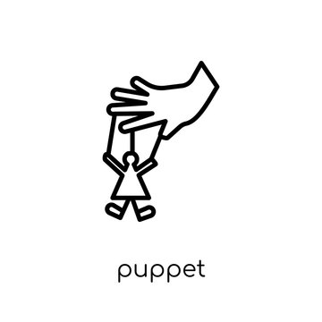 Puppet icon. Trendy modern flat linear vector Puppet icon on white background from thin line Cinema collection