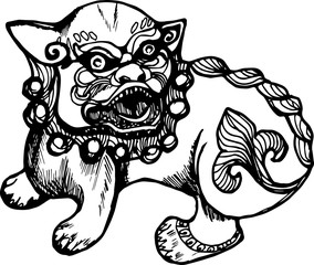 Black white illustration of a chinese lion. History and protection.