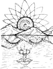 Black white picture of the spirit of nature and the divine. Mandala, mountains, translucent face of nature.