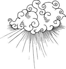 Black and white illustration of Chinese clouds and rays of light.