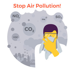 Man with glasses is trying to defend himself with a handkerchief from fine dust, air pollution, industrial smog, pollutant gas emission. Stormy sky city. Vector illustration.