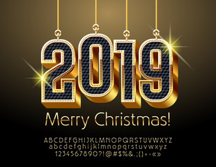 Vector Greeting Card for Merry Christmas with Black and Golden shine Toys 2019. Stylish chic Font.