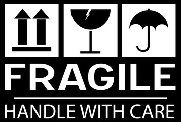 Stcker: fragile - hadle with care - this way up