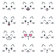 Different emotions of cats on white background