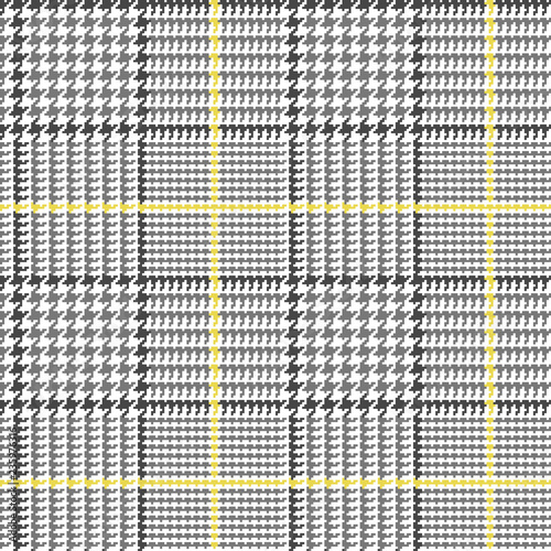 d0d8f204da Glen Plaid Vector Pattern in Grey, Black and White with Yellow Overcheck.  Classic Houndstooth Seamless Textile Print. Prince of Wales Check.  Traditional ...