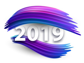 New Year 2019 sign with purple brush strokes on white background.