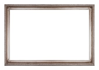 Silver frame for paintings, mirrors or photo isolated on white background