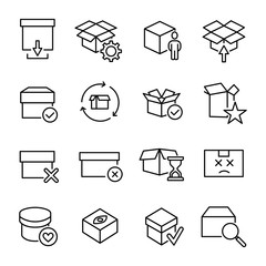 Modern outline style box icons collection.
