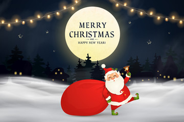 Fotomurales - Merry Christmas. Happy new year. Funny Santa Claus with red bag with presents, gift boxes, christmas tree, jingle bell in christmas snow scene. Happy Santa Claus cartoon character in winter landscape