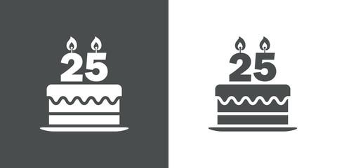 Icono plano tarta de 25 aniversario en gris y blanco