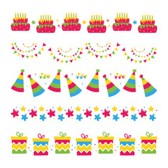 Cute vector cartoon style borders set, collection with birthday cakes, stars, garlands, party hats and gifts for party and birthday design.