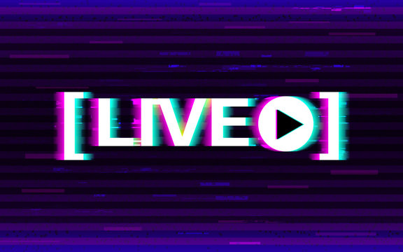 Glitch live streaming. Distorted emblem with 3D stereo effect. Online stream logo with glitched elements and pixels. Video broadcast template. Design for websites or social media. Vector illustration