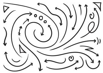 hand drawing arrows set vector