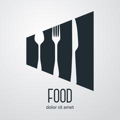 Logotipo con texto Food con cubiertos en espacio negativo en fondo gris