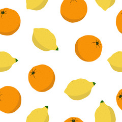 Seamless lemon and orange pattern on white background. Hand drawn citrus illustration with fruits. Template for print, design, postcards, poster, party, summer background, vintage textile. Vector.