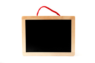 Blank blackboard with red twine isolated on white background