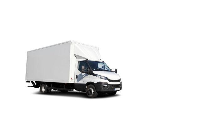 Freigestellter Transporter mit Bodenschatten und weißen Hintergrund