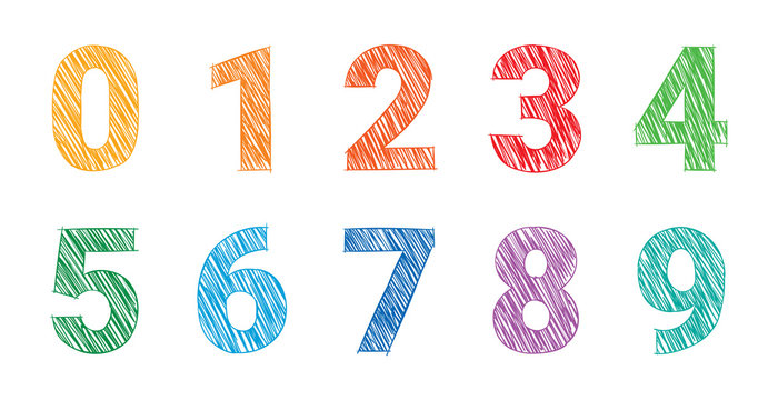hand drawing colored numbers, mathematics numbers illustration vector