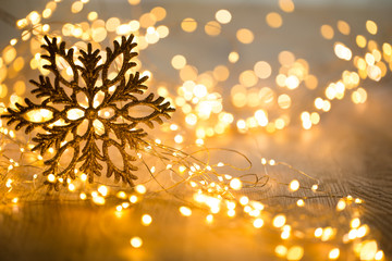 Christmas greeting card. Festive decoration on bokeh background. New Year concept. Copy space.  Flat lay. Top view.