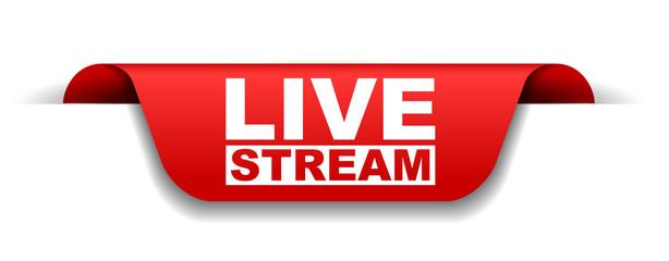 Fototapeta red vector banner live stream obraz