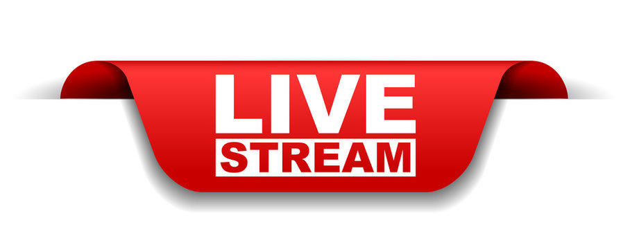 red vector banner live stream