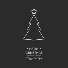 Design of Christmas greeting card with with hand drawn tree. Vector.